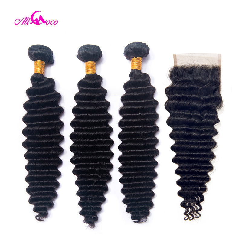 Ali Coco Indian Deep Wave Human Hair 3 Bundles With Closure 10 28 Inch Natural Color