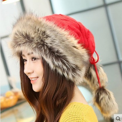 Women Winter Hats Elastic Knitted Woollen Yarn Faux Fur Patchwork Cotton Gorro Beanies Cap Neckerchief Thicken Cute Casual Hats