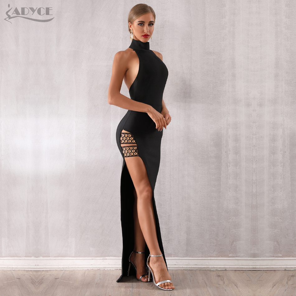 Adyce 2020 New Summer Black Bandage Dress Sexy Sleeveless Halter Hollow Out Maxi Club Dress Celebrity Runway Party Dress Vestido