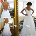 vestidos de novia V-neck A-line Court Train White Tulle Backless Appliques Hot Wedding Dresses Bridal Gown 2013 Free Shipping