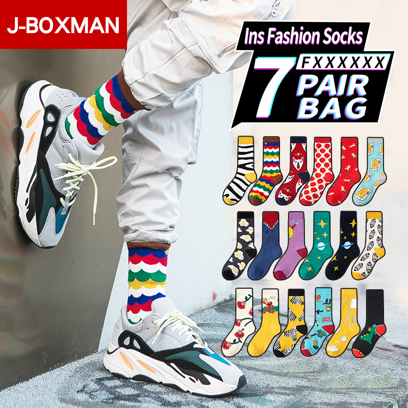 1-7 Pairs/Lot Hip Hop   Socks   Men Streetwear Long Soccer   Socks   Ins Fashion Sports Soft Cotton Men's Happy   Socks   Funny Print Sox