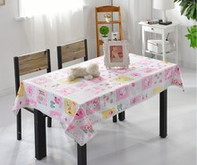 Free Shipping Lovely Hello Kitty Table Cloth Cartoon Rural Cotton tablecloths with Lace Home Wedding Party Supplies wholesale