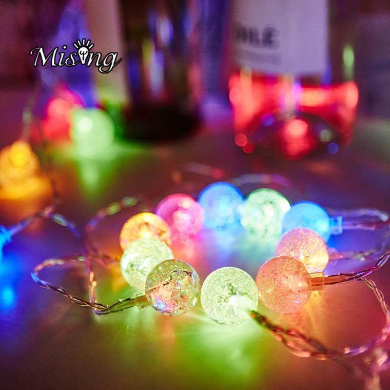Mising 3*AA Battery 2M 20 LED Bubble Ball String Lights LED Fairy Lights Ourdoor Garden Decoration Lamp for Festival Christmas