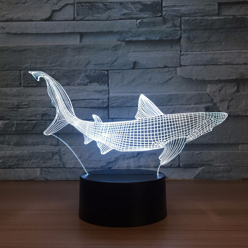 Creative Shark Fish Lovely Night Light 3D Lights Children Decorate - Night Lights - Photo 5
