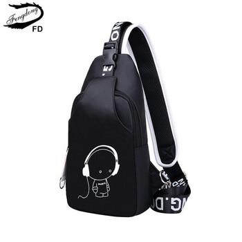 FengDong bandolera bolsas, bolsas de mensajero para mujeres, los hombres casual sling Bolsa de pecho Hombre mini de viaje impermeable hombro bolsa de paquete