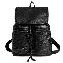 Мода 2017 г. из мягкой искусственной кожи Для женщин рюкзак Повседневное черный Школьные сумки для подростков Обувь для девочек высокое качество женские туристические рюкзаки