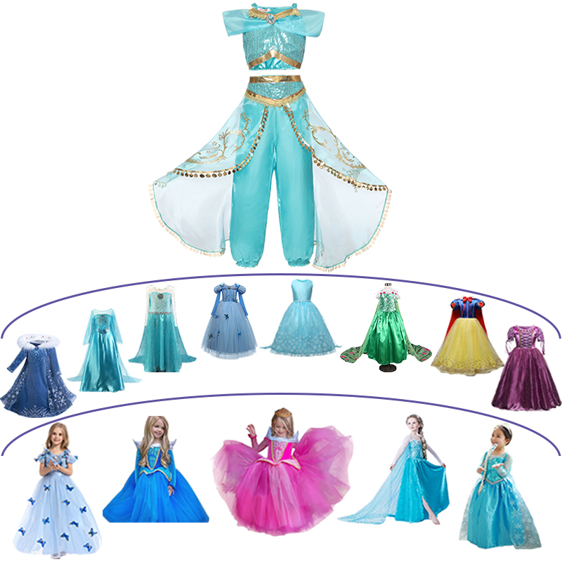 dac66798bcd72 Hot Sale] Summer Girl Dress Arabian Princess Jasmine Dress up ...