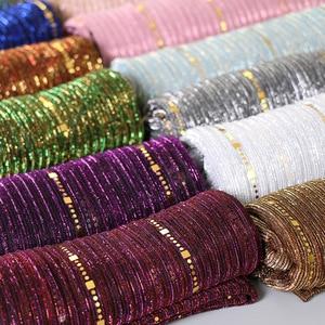 Image 3 - Beautiful! Magic filament Sequin Muslim Women Hijabs Shimmer Shawl Hijabs Wrinkles Islamic Wedding Veil Scarves Head Cover