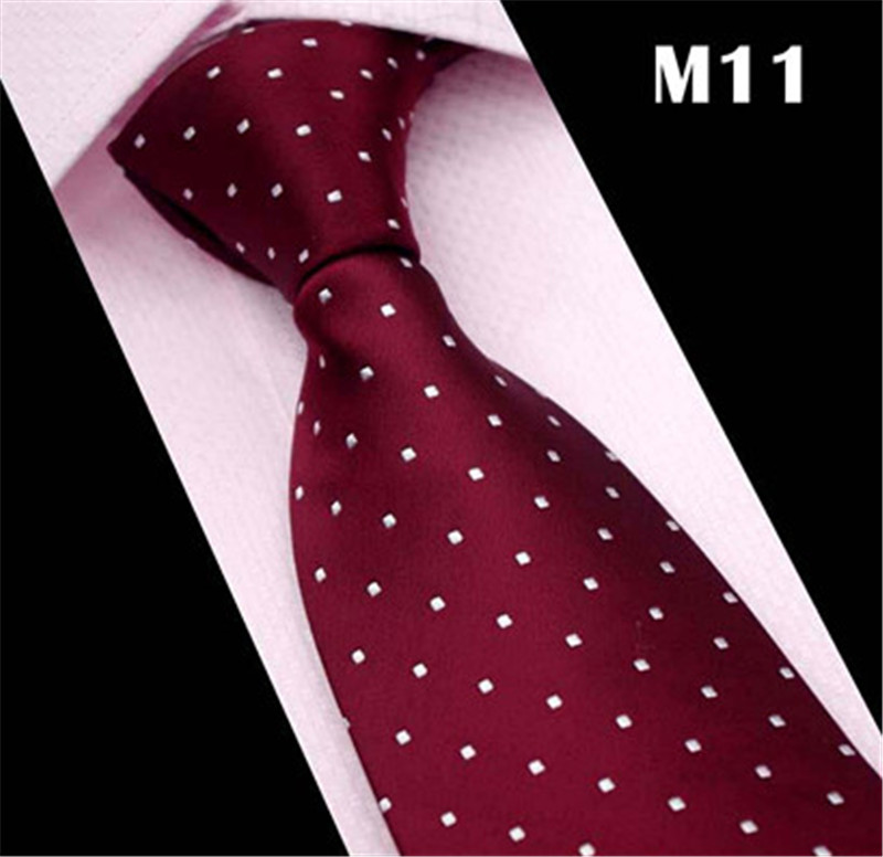 Brand Cravate 2020 New White Dot Burgundy Red Blue Neck Ties For Men Silk Tie Mens Wedding Neckties Slim Necktie Gravata CR034