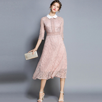 Hollow Out Ladies Elegant Lace Dress Slim A line Ladies Party Dresses New Summer Pink Mid Dress for Woman