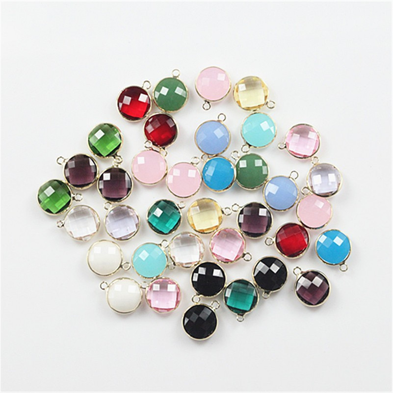 Connecteur en verre de charme de perle de verre en cristal de forme ronde de mélange de 50 pcs pour la décoration de fabrication de bijoux - 4