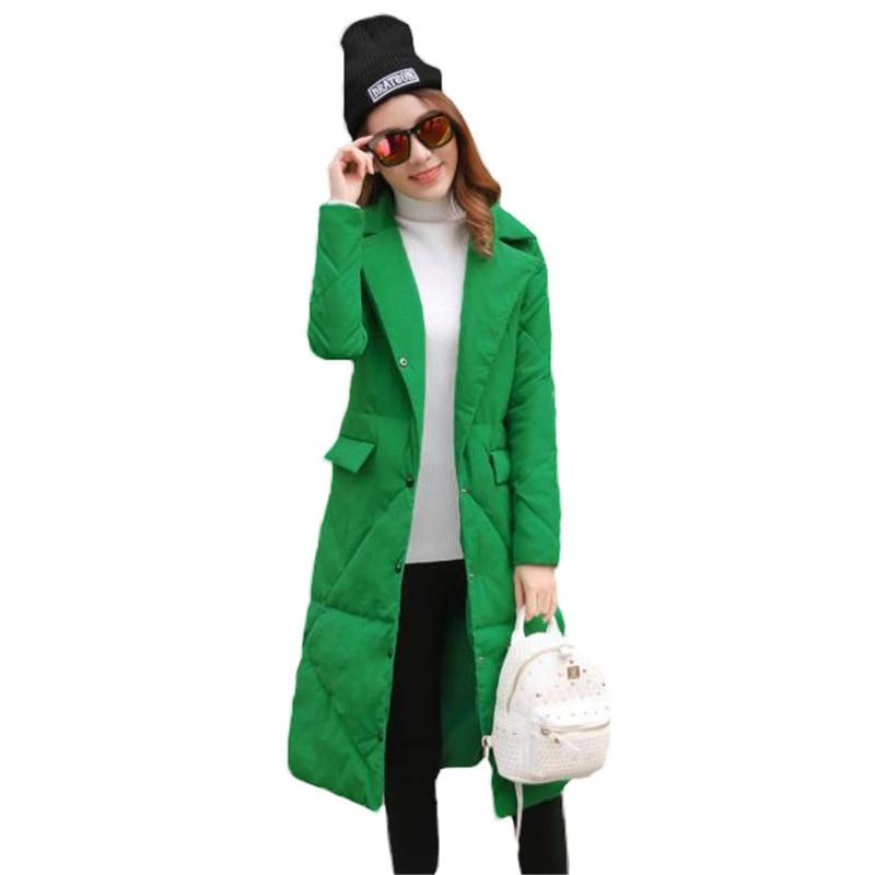 Fashion Ladies Coats ArmyGreen 2018 Autumn Winter Coat Women Parka Long Thin Warm Cotton Jacket High quality Black 6 Color L374