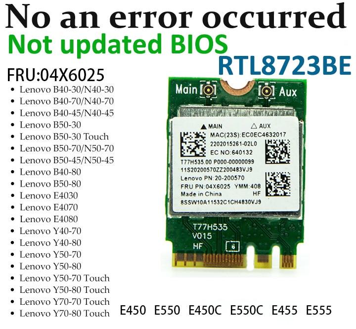 Realtek RTL8723BE 300Mbps 802.11n M2 NGFF Wireless Card Mini PCI E WiFi Adapter + Bluetooth 4.0 For Lenovo E450 E550 E555 Y50