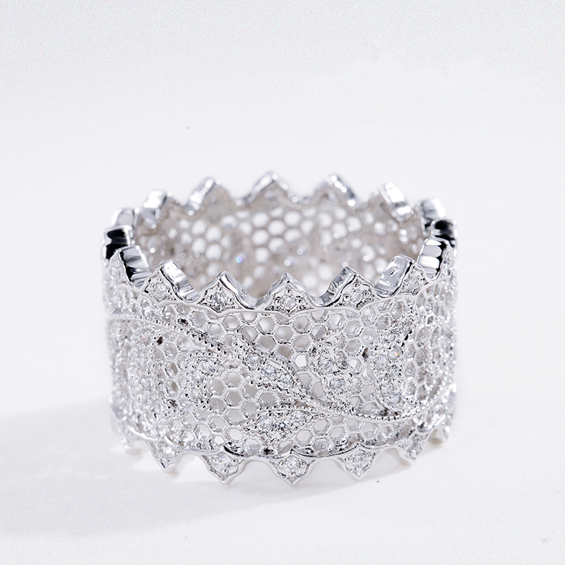 S925 Silver Jewelry Lace Hollow Antique Palace Rings For Women
