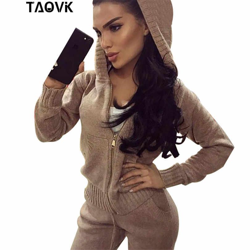 TAOVK womans zestaw do szydełkowania kieszenie zamek z kapturem sweter dres kobieta dwuczęściowy Oversize ciepła dzianina stroje dom garnitur 2019