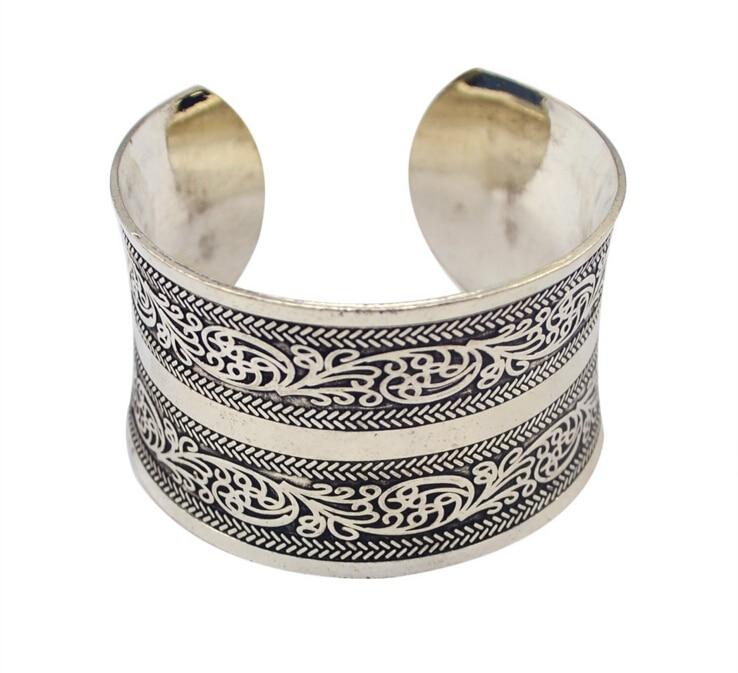 New Designs Bohemia Concave Metal Cut Out Flower Pattern Tibetan Antique Silver Plated Retro Cuff Bracelets & Bangle For Women