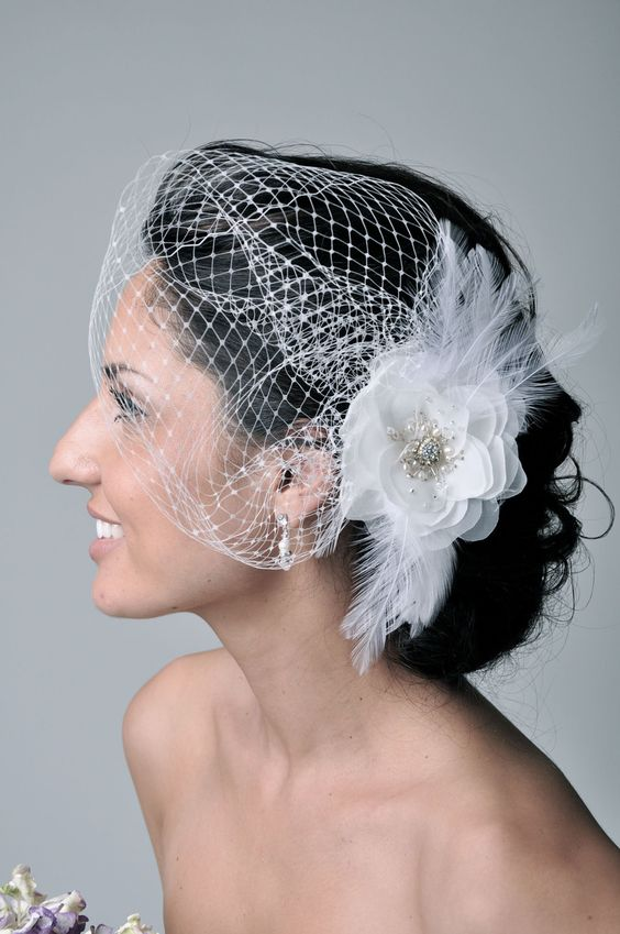 Aliexpress Buy Handmade Wedding Hair Clip Headband Feather Bridal Veil Small Mesh Bride Hat Accessories Feathers And Mini Birdcage From Reliable
