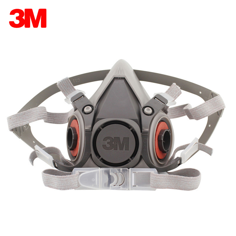 3M 6200 Respirator Gas Mask Chemical Filter Paint Spray Half Face Protection Mask Work Safety Construction Mining Car Mask Only high quality respirator gas mask provide silica gel gray protective mask paint pesticides industrial safety mask
