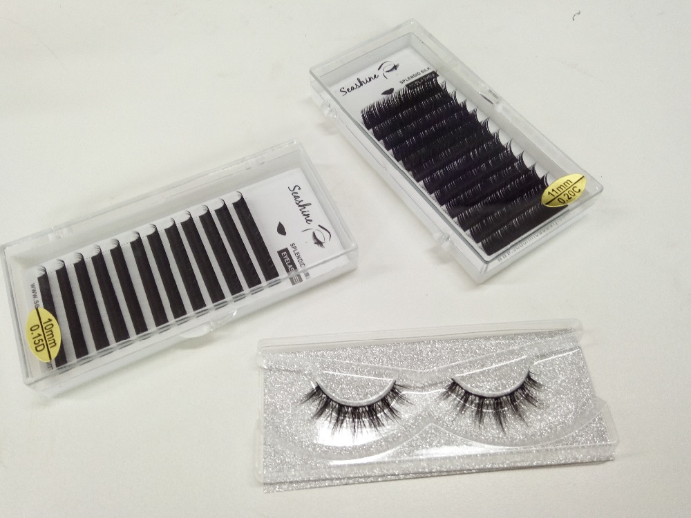 2 trays Individual Lash package sale high quality Eyelash Makeup with gift strip lash 9-15mm makeup tools handmade