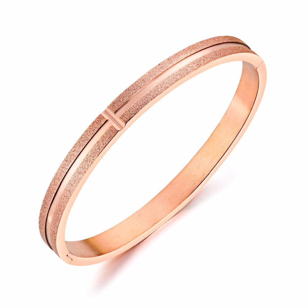 Charms Bracelets for Women Fashion Frosted Titanium Steel Rose Gold Bracelets & Bangles Christmas Gift bracciali uomo Jewelry