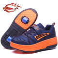 Children Shoes With Wheel Roller Skates Fashion Sport Casual PU Leather Breathable Kids Roller Sneakers