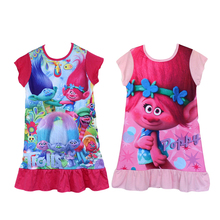 2017 New Summer kids girls nightgowns cotton fabric trolls poppy dress sleepwear for 3-9 years old