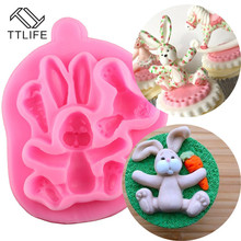 TTLIFE 3D Easter Bunny Silicone Mold  Rabbit With Carrot Cupcake Fondant Cake Decorating DIY Tool Candy Chocolate Gumpaste Mould 3d carrot rabbit cake mould easter bunny silicone mold cupcake topper fondant cake decorating tools