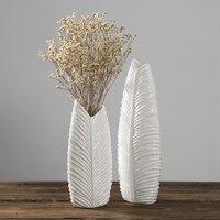 White ceramic creative fashion Plantain leaf flowers vase pot home decor craft room decoration ornaments porcelain figurine gift