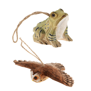 100% Hand Carved Owl & Frog Hanging Animal Statue Figurines Sculpture Wooden Hanging Ornament Home Garden Rustic Decorations