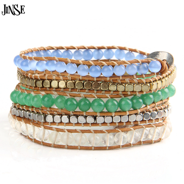 Jinse Top Quality 5 Strands Opal Stone Beads Leather Bracelet Beaded Vintage Jewelry