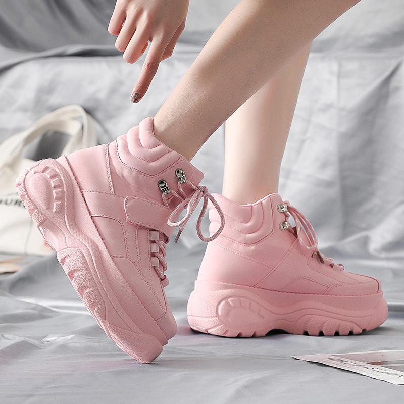 Spring 2019 womens shoes tide Korean leisure high waist thick solid color powder shoes women Med 3cm 5cm Yasilaiya in Women 39 s Vulcanize Shoes from Shoes