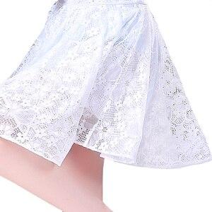 Image 5 - Robe latine en dentelle pour filles, jupe Tango Sumba, demi manches pour danse latine, tenue de danse pour salle de bal