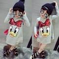 Vestidos da menina 2017 Primavera Dos Desenhos Animados Pato Lantejoulas Longo-Vestido de mangas compridas Meninas Princesa Moda Estilo Europeu Roupas Crianças das Crianças