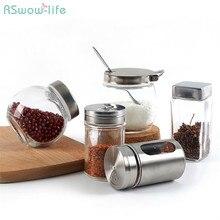 Kitchen Supplies Stainless Steel Seasoning Jar Glass Sauce Bottle Honey Jars Sugar Jar For Home Kitchen Storage Tank