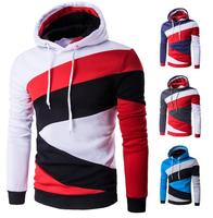 New 2017 Spring Autumn Mens Casual Slim Fit Hooded Hoodies Sweatshirt Sportswear Male Patchwork Fleece Jacket