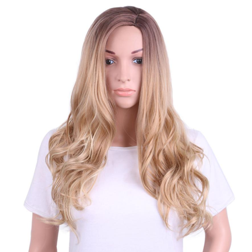 New Gold Hair Lace Front Wig Long Synthetic Wigs For Women Heat Friendly Hair Accessories 0621