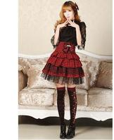 Sweet College Style Punk Plaid Black And Red Layered Skirt Free Shipping
