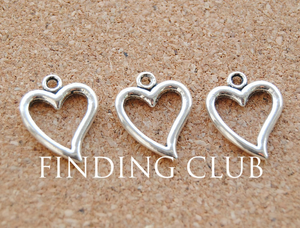 Able 50 Pcs 19x15mm Metal Charms Antique Silver Heart Charm Pendant For Jewelry Making A897 Reliable Performance Jewelry Sets & More