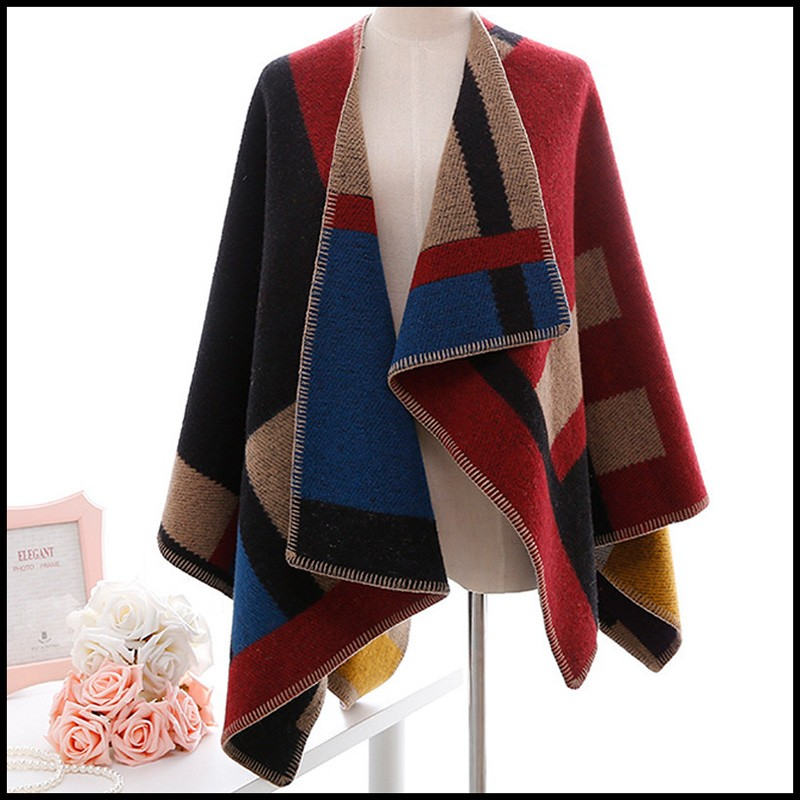 886a77396 Aliexpress.com   Buy Wool Oversized Sweaters Winter Cashmere Plaid ...