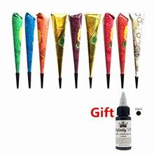 0a657a11d8a259 Hot 9 kolory wodoodporna zestaw tatuaż krem Henna wklej indyjski tymczasowy  tatuaż stożek Mehndi prezent 30 ml farba do malowani.