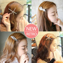 Fashion new vintage feather starfish bangs seaside clip headdress spring hairpin  hair accessories