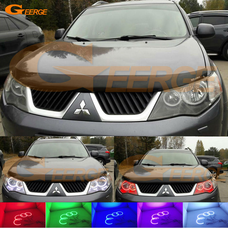For Mitsubishi Outlander 2007 2008 2009 HALOGEN HEADLIGHT Excellent Angel Eyes Multi-Color Ultra bright RGB LED Angel Eyes kit 2pcs purple blue red green led demon eyes for bixenon projector lens hella5 q5 2 5inch and 3 0inch headlight angel devil demon