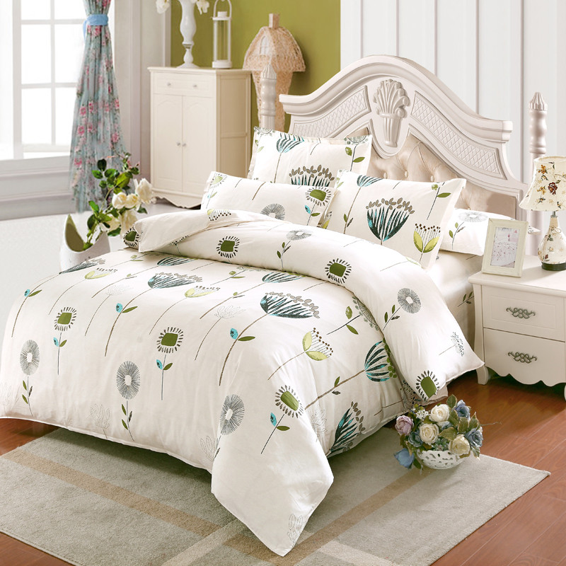 american style luxury white flower bedding set twin full queen king cotton girl princess wed home