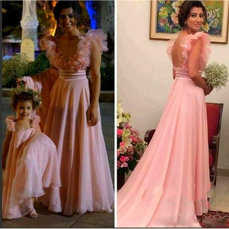 Pink Ball Gown Mother And Daughter Best Matching Flower Girls Dresses Custom