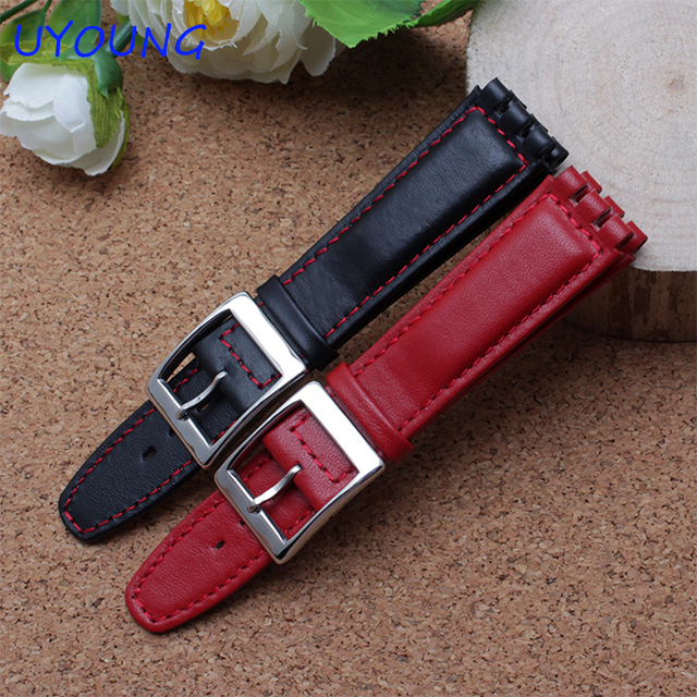 High Quality 17mm 19mm Waterproof Genuine Leather Watch Strap Band Black Brown W