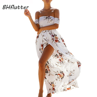 BHflutter Women Dress 2018 New Fashion Off Shoulder Short Sleeve Summer Dress Boho Style Floral Print