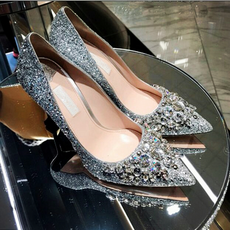 Luxury Silver Glitter Leather Women Pumps 2017 Summer New Sexy Metal High Heels Wedding Shoes Woman Slip On Pointed Toe Shoes(China (Mainland))