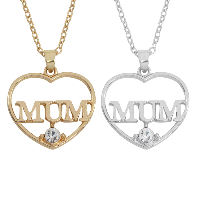 2017 new style gold and silver crystal heart shape mom mum 2017 new style gold and silver crystal heart shape mom mum necklaces pendants for women mozeypictures Image collections