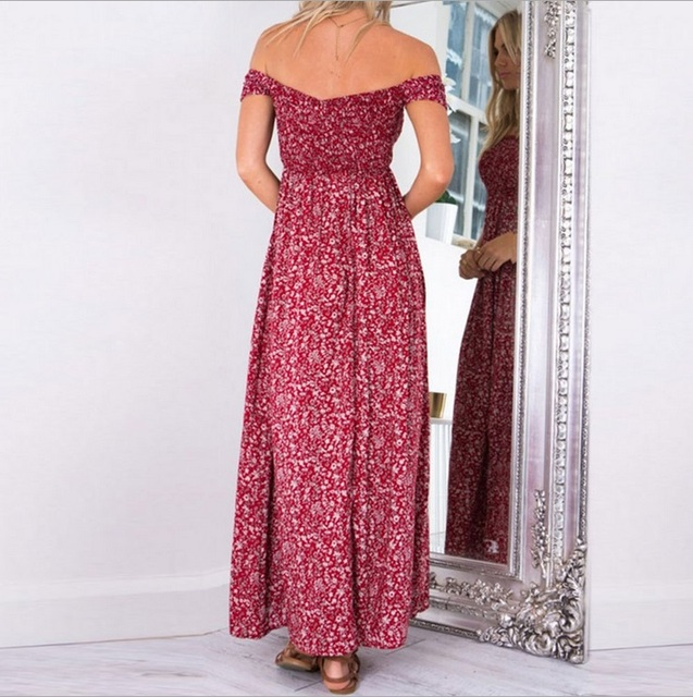 off the shoulder light print long dress with knee-split 2