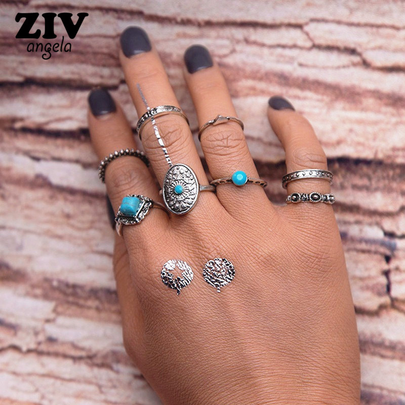 ZIVangela Geometric Stone Oval Midi Ring Sets Boho Beach Anillos Finger knuckle Rings fo ...